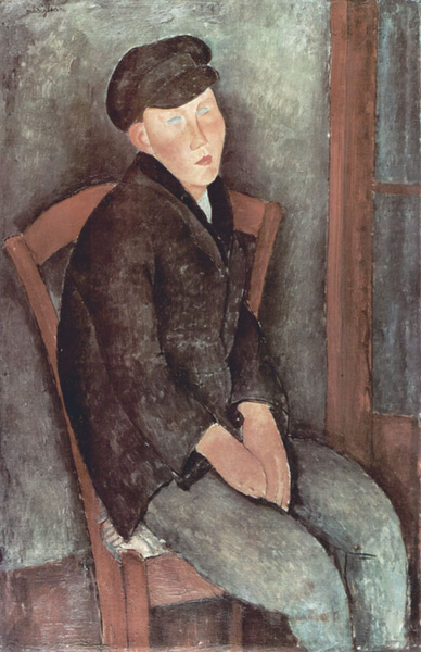 Young Seated Boy with Cap,Amedeo Modigliani,60x40cm