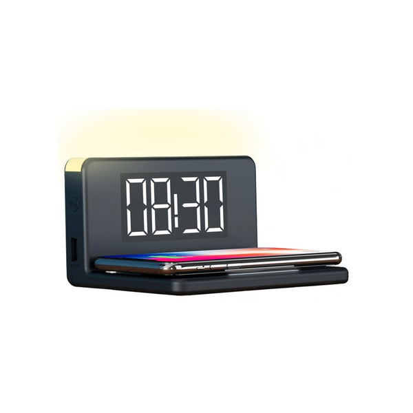 Alarm clock with wireless charger qi svart