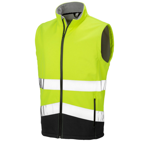 Result safeguard mens printable safety softshell gilet fluoresce
