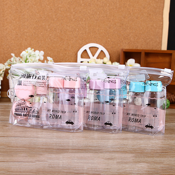 7pcs/set essensial travel mini plastic transparent empty makeup