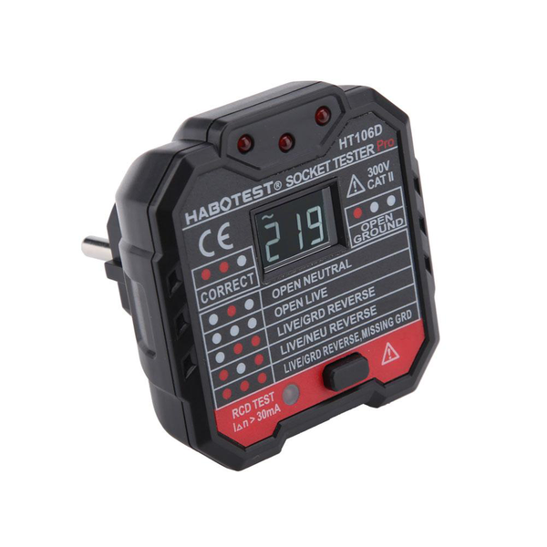 Ht106d multi-function electric socket tester mains fault che