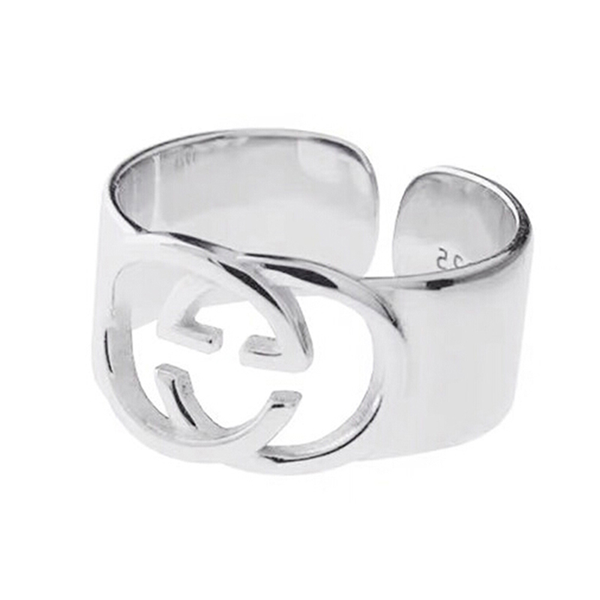Simple smooth wide double gg ring open delicate finger ring for