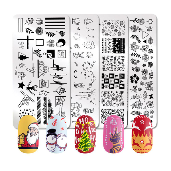 Nail stamping plates christmas nail art template stainless