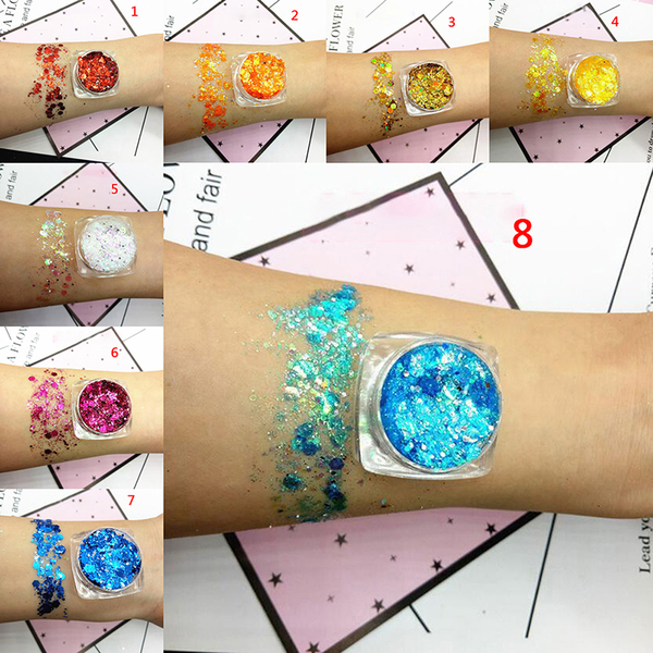 Mermaid holographic glitter powder face eye shadow body makeup n