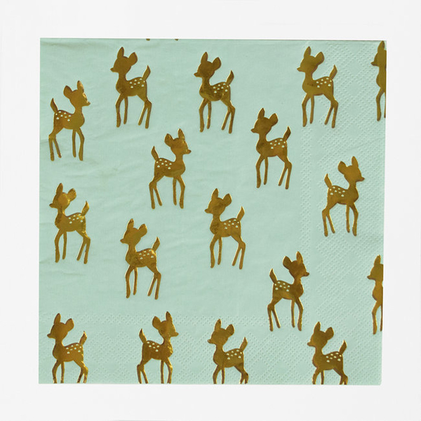 Paper Napkins GOLDEN FAWN - - - 16 Christmas Birthday Party Napkins 2a399b