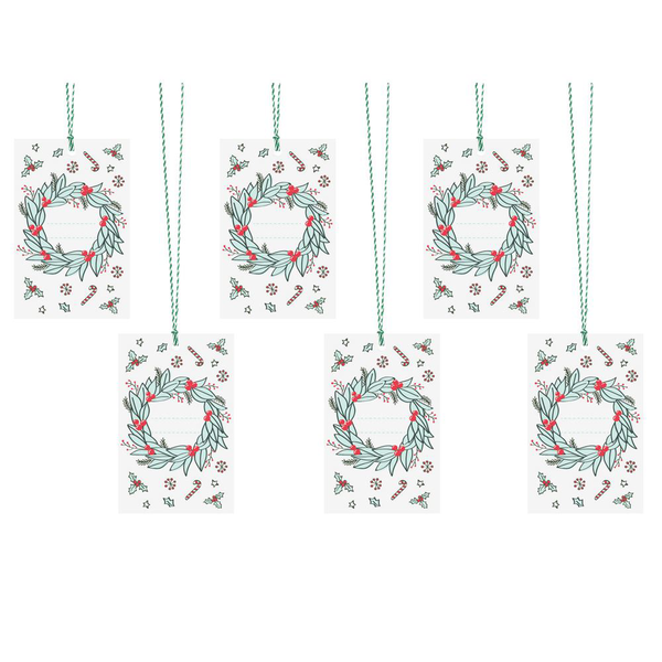 Christmas gift tags wreath design with bakers twine x 6