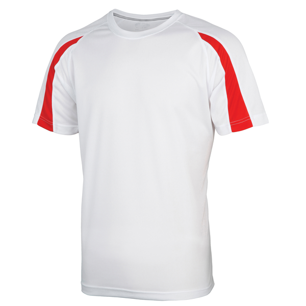 Unbranded Just cool mens contrast cool sports plain t-shirt arctic white/f