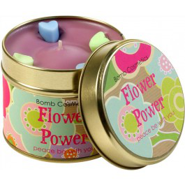 Flower Power Patterned Tin Cosmetics Candle - Bomb Cosmetics Tin ff36fa
