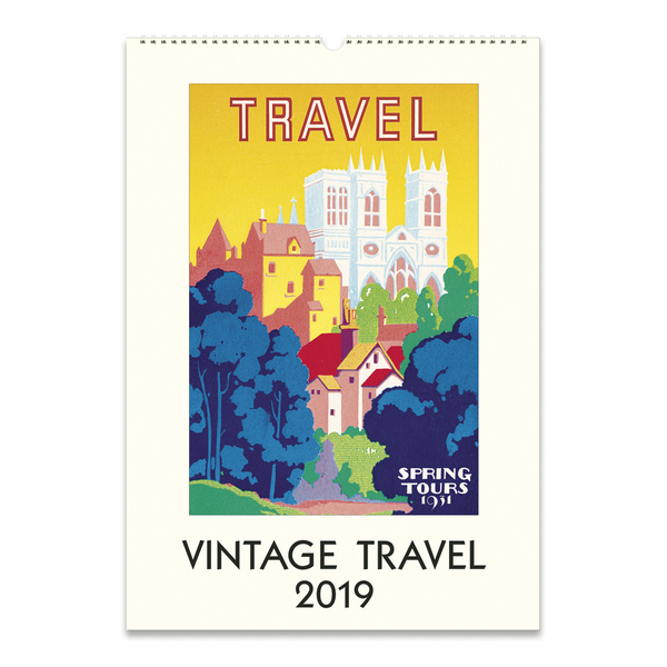 Cavallini Papers & Co. 2019 Vintage Travel Wall Calendar, Mul...