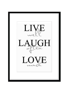 Poster Live well, Laugh often, Love much A4