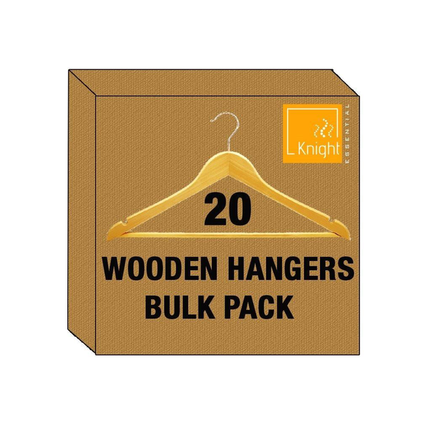 Set of 20 Wooden Clothes Hangers