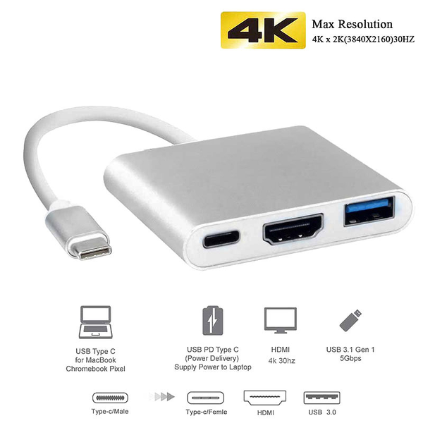 Thunderbolt 3 / usb-c adapter – hdmi & usb 3.0