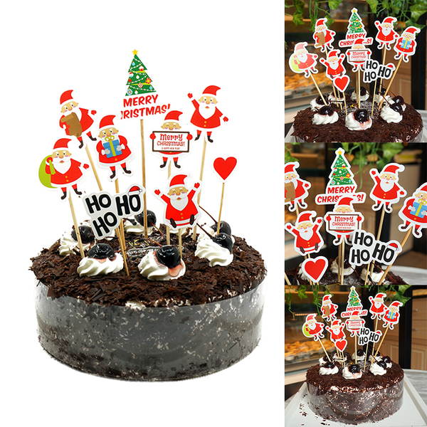 Merry christmas nine sets of santa claus cake topper party suppl