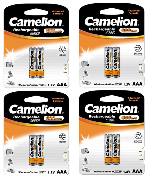 Camelion 8st laddningsbara batterier aaa nimh 600 mah laddnings