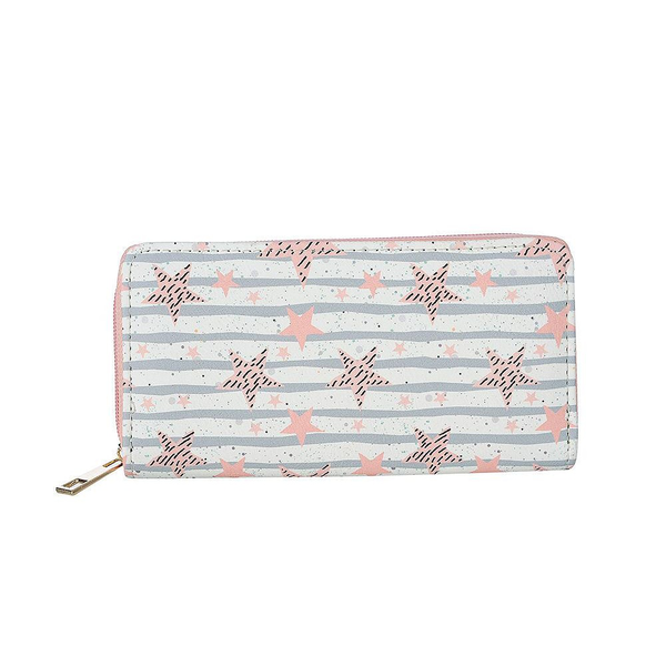 Fable womens/ladies star print large purse pink/blue utjw1011