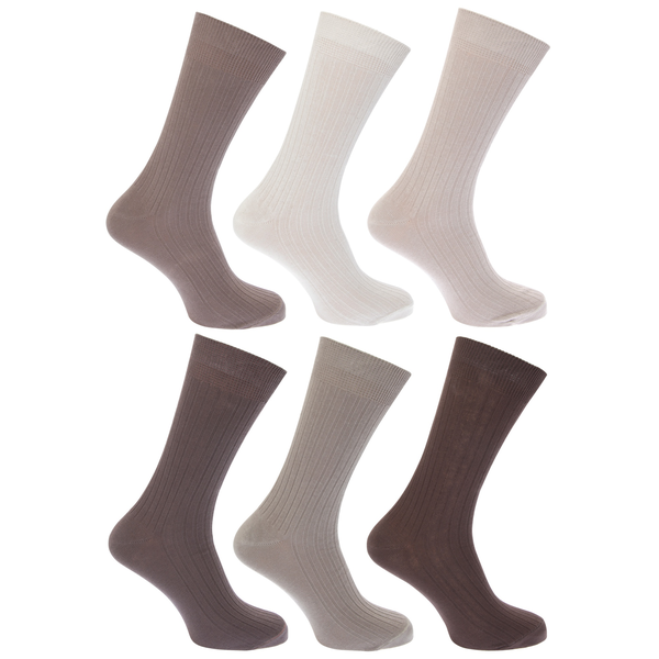 Unbranded Floso mens ribbed 100% cotton socks (pack of 6) shades of brown