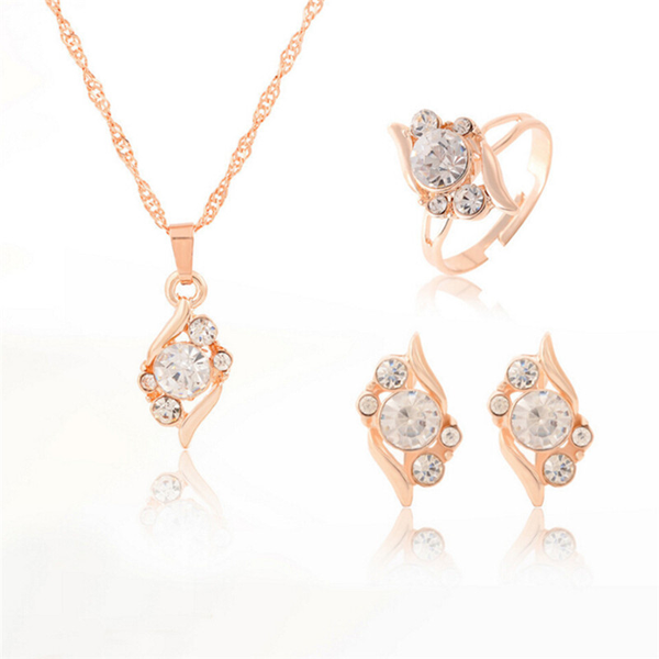 Jewelry set fashion gold color chain crystal necklace ring earri