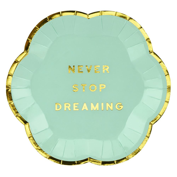 Green paper canape plates 'never stop dreaming' – wedding / p…