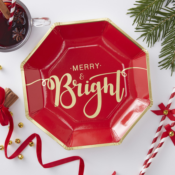 Gold Foiled Merry And Bright Christmas Paper Plates - Röd & G...