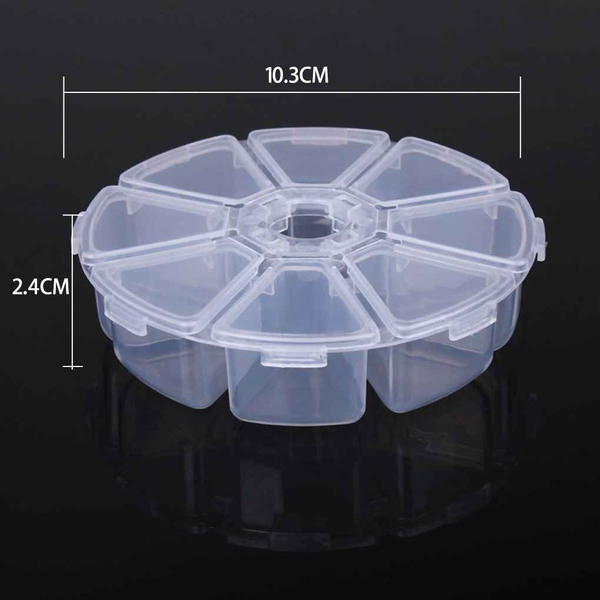 Plastic 8 cells jewelry organiser container storage box