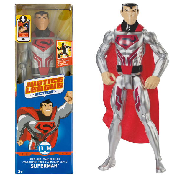 DC Justice League Superman Stålmannen Steel Suit Figure 30cm
