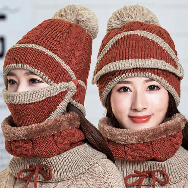 Women winter beanies knitted thickened woolen hat with warm mask