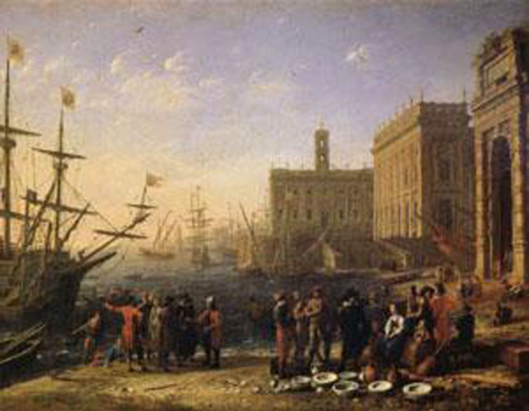 View of a Port with the Capitol,Claude Lorrain,56x72cm
