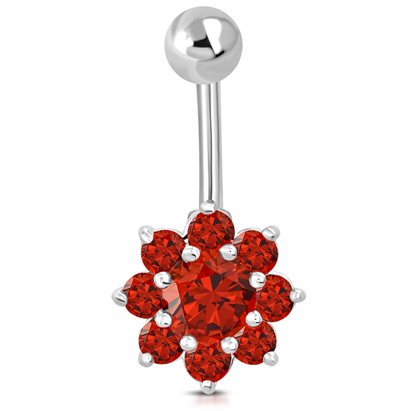 Navelpiercing 316L Kirurgiskt stål Blomma orange CZ