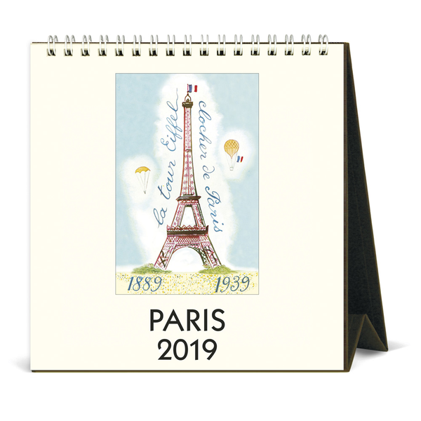 Cavallini Papers Paris Desk Calendar 2019, Multicolour