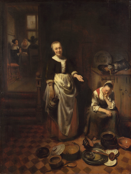 Interior with with with a Sleeping Maid and Her,Nicolaes Maes,50x40cm d69d0e
