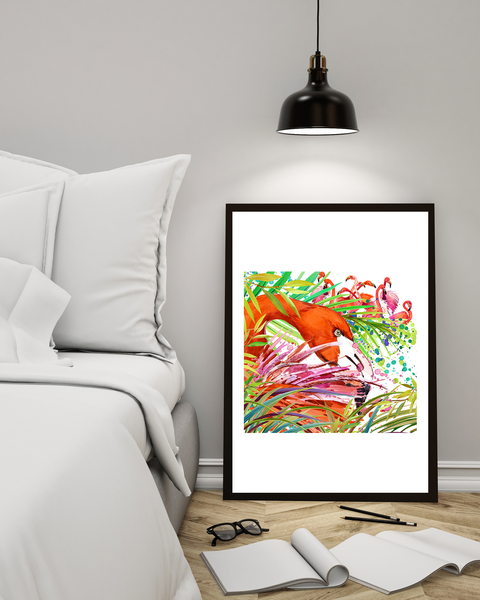 Poster Poster Poster - Målad Flamingo A4 21x30cm 97bd39
