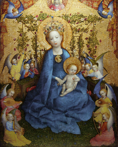 Madonna of the Rose Bower,Stefan Lochner,50x40cm