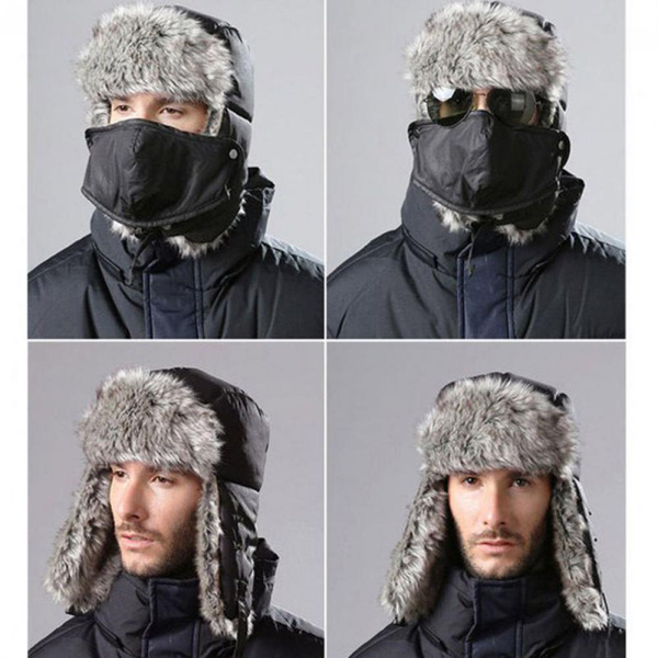 Hat with mask ski cap winter warm