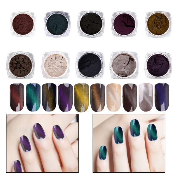 10 colors cat eye 3d effect magnet shinning powder dust mirr