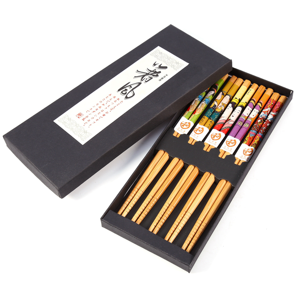 5 pairs japanese family style bamboo chopsticks gift box cho