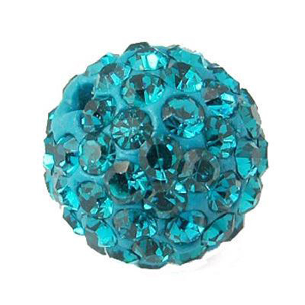 Handgjord strasspärla 10 mm blue zircon 5-pack
