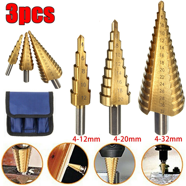 3pcs step drill bits set hss titanium
