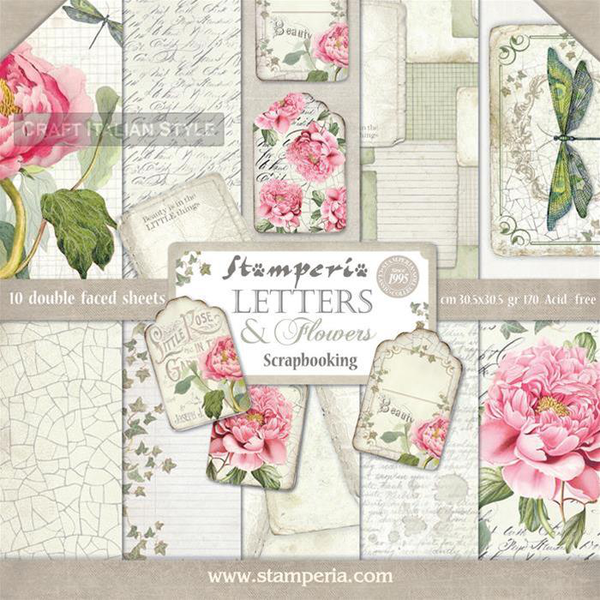 Paper pad 12″x12″ – stamperia – letters & flowers
