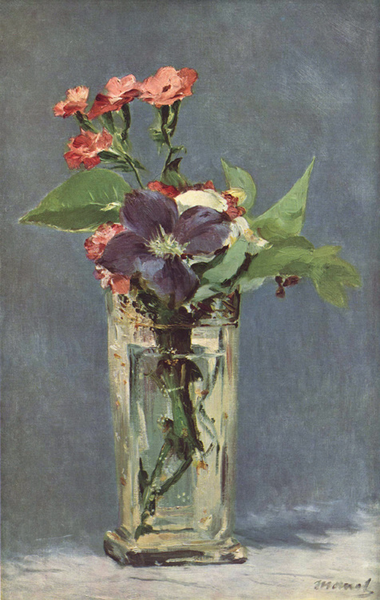 Carnations and Clematis in a Crystal,Edouard Manet,56x35.5cm