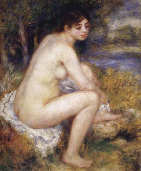Female Nude in a Landscape,Pierre Renoir,65x55cm