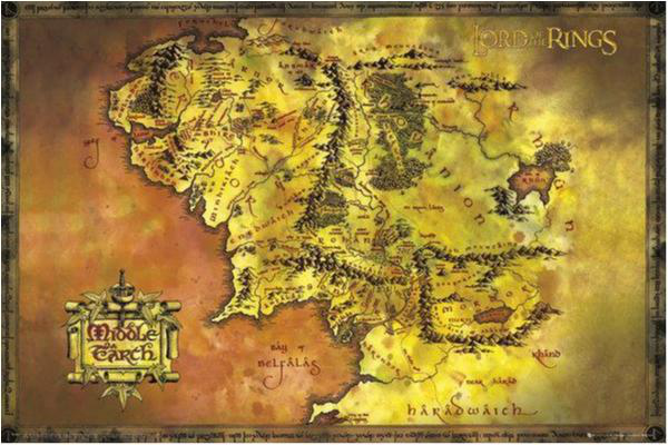 Lord of the the the rings - Classic map - Sagan om ringen 4b94ba