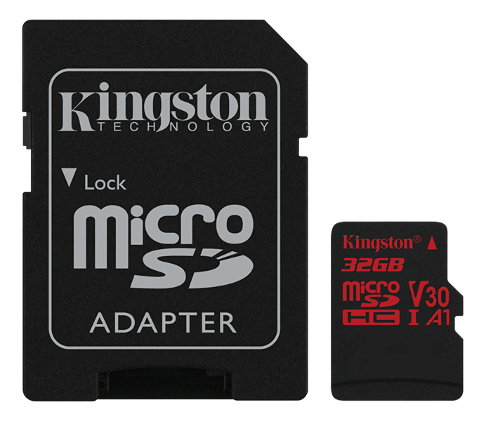 Kingston 32gb microsdhc canvas react 100r/70w u3 uhs-i v30 a1 +