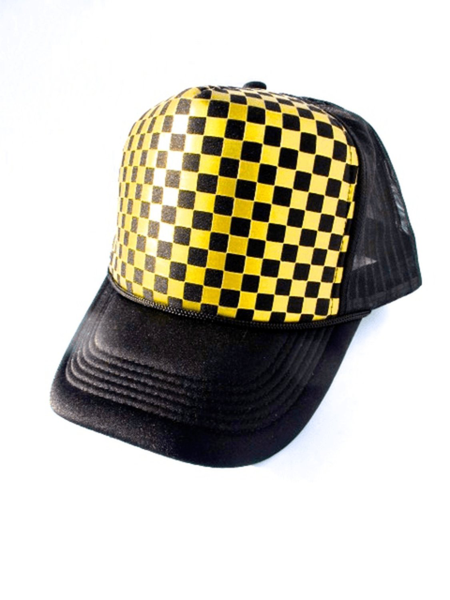 Gold checkered – trucker keps