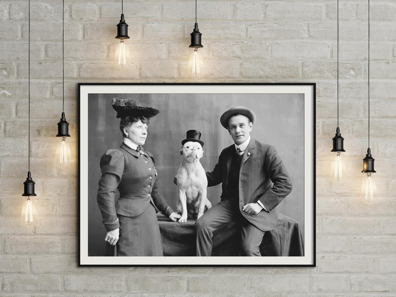 Poster mr. and mrs. frank kern and trained dog bobbie 50×70 cm
