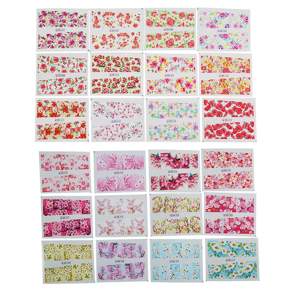 24sheets/set nail decal sticker self-adhesive flower manicur