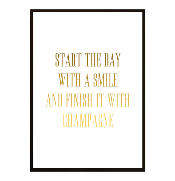 Poster - Start the day with Champagne no.4 A4 21x30cm