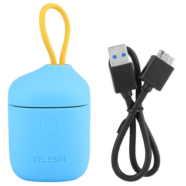 Telesin 3 in 1 card reader storage case dual slot battery ch