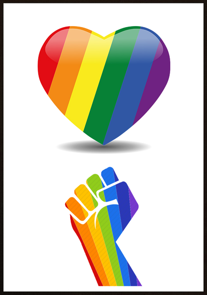Poster - Pride hand and heart 40x50cm