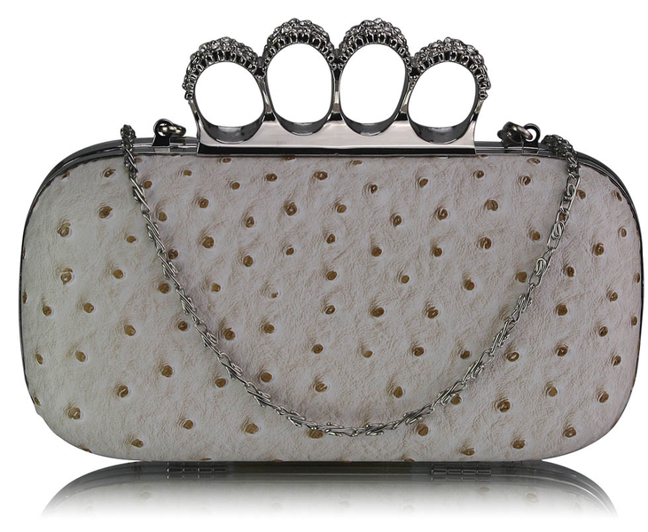 Designer Woherrar Ostrich Skin Knuckle Clutch Crossbody purse