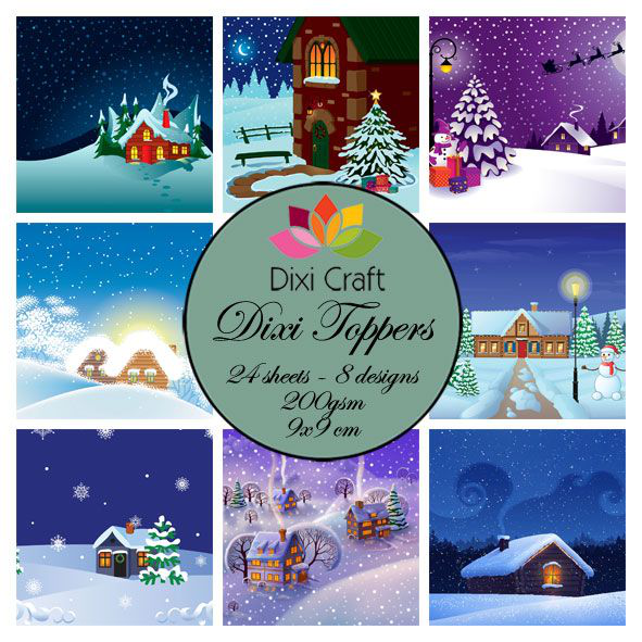 Dixi crafts toppers – 9x9cm – winter houses
